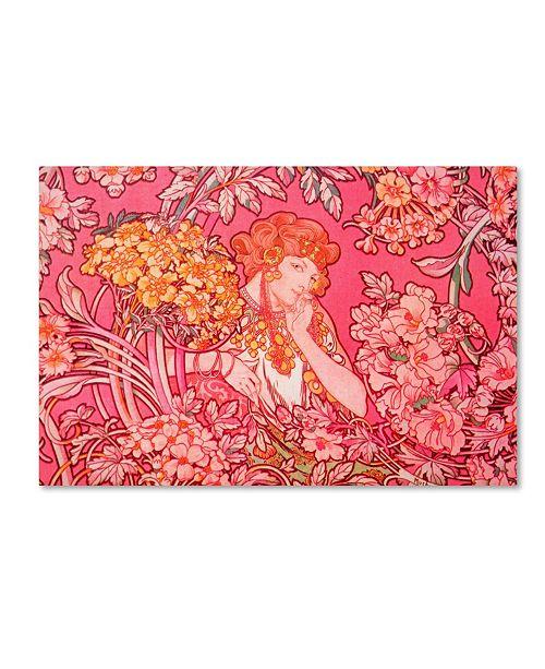 "Trademark Global Vintage Apple Collection 'Mucha Woman' Canvas Art - 47"" x 30"" x 2"""