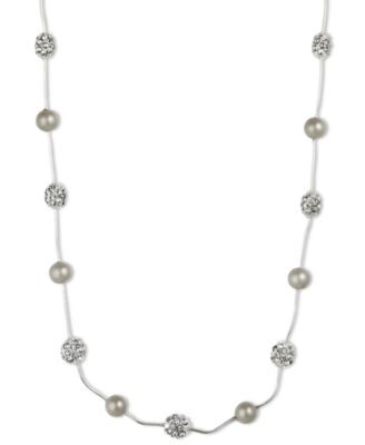 Image of Anne Klein Silver-Tone Crystal Imitation Pearl Strand Necklace