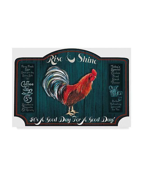 """Trademark Global Sher Sester 'A Good Day Sign Blue Wood' Canvas Art - 24"""" x 16"""" x 2"""""""