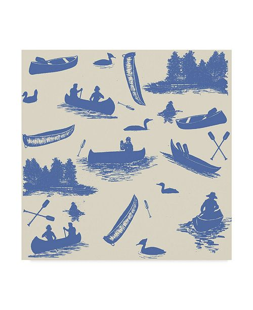 "Trademark Global Sher Sester 'Canoe Pattern Blue' Canvas Art - 14"" x 14"" x 2"""
