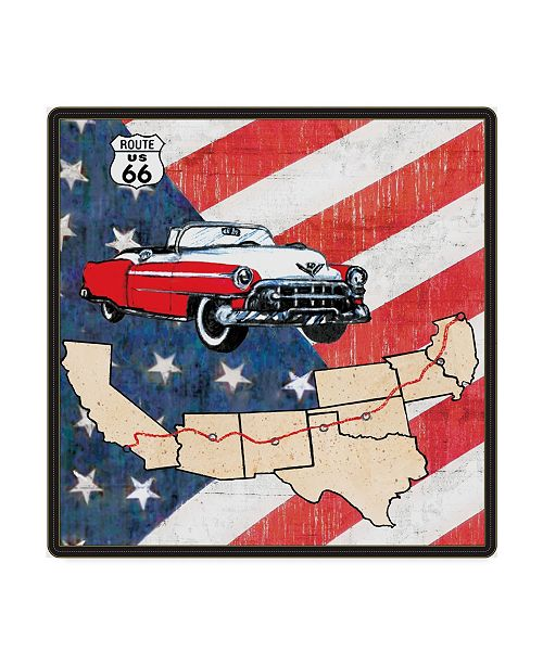 """Trademark Global Sher Sester 'All American  Route 66 Car' Canvas Art - 18"""" x 18"""" x 2"""""""