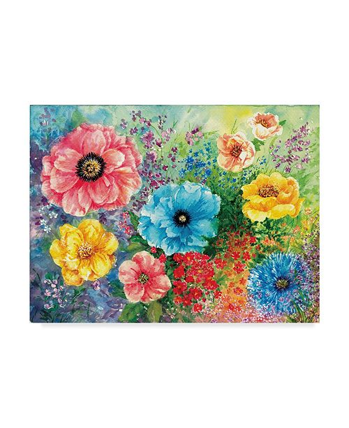 "Trademark Global Sher Sester 'Floral Garden' Canvas Art - 47"" x 35"" x 2"""