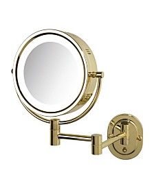 "The Jerdon HL65G 8"" Lighted Wall Mount Makeup Mirror"