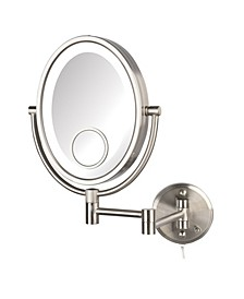 "The HL9515NL 8"" x 10"" Dual Sided 10X Magnified LED Wall Mount Mirror"