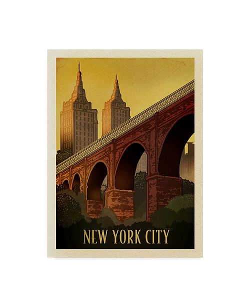 "Trademark Innovations Old Red Truck 'Vintage New York' Canvas Art - 19"" x 14"" x 2"""