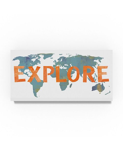 "Trademark Global Summer Tali Hilty 'Explore Map' Canvas Art - 24"" x 12"" x 2"""