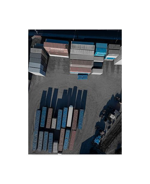 """Trademark Global Moises Levy 'Blue Shipping Boxes' Canvas Art - 32"""" x 24"""" x 2"""""""