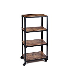 Mind Reader 4 Tier All Purpose Utility Cart, Wood/Metal ,Brown