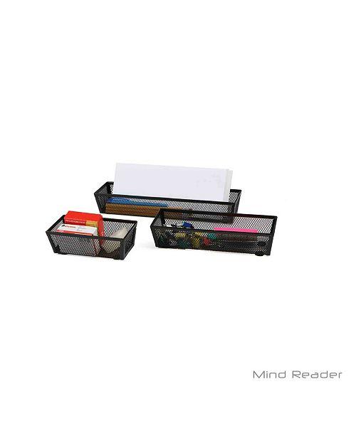 Mind Reader 3 Piece Thin Rectangle Storage Compartment Organizer Set