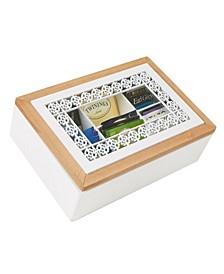 Tea Box Storage Holder with Glass Window Wood Pattern