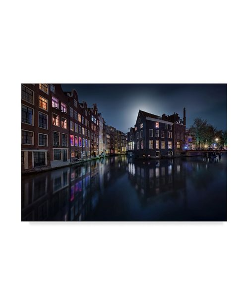 "Trademark Global Jesus M Garcia 'Moonlight Over Amsterdam' Canvas Art - 19"" x 2"" x 12"""