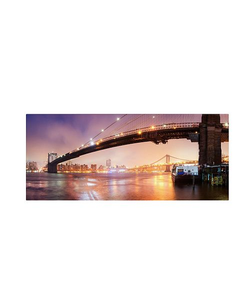 "Trademark Global Moises Levy 'Brooklyn Bridge Pano 1' Canvas Art - 32"" x 12"" x 2"""