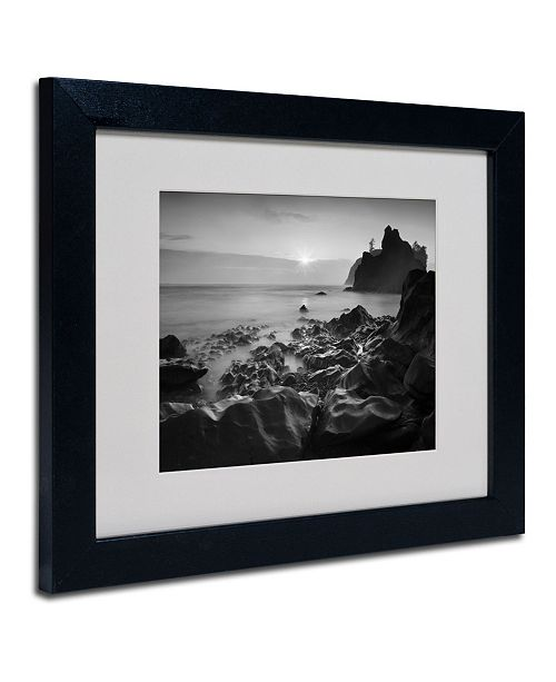 """Trademark Global Moises Levy 'Sunset At Ruby Beach' Matted Framed Art - 14"""" x 11"""" x 0.5"""""""