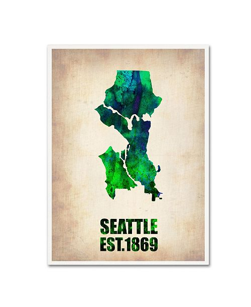 "Trademark Global Naxart 'Seattle Watercolor Map' Canvas Art - 19"" x 14"" x 2"""