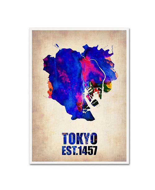 "Trademark Global Naxart 'Tokyo Watercolor Map' Canvas Art - 24"" x 32"" x 2"""