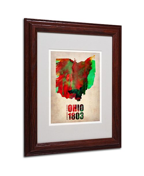 "Trademark Global Naxart 'Ohio Watercolor Map' Matted Framed Art - 11"" x 14"" x 0.5"""