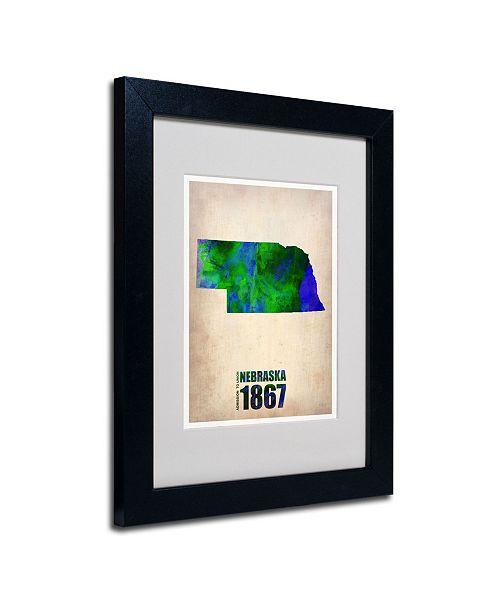 "Trademark Global Naxart 'Nebraska Watercolor Map' Matted Framed Art - 14"" x 11"" x 0.5"""