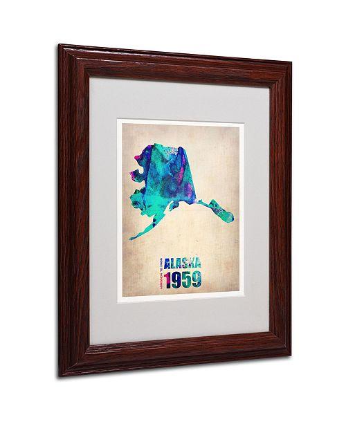 """Trademark Global Naxart 'Alaska Watercolor Map' Matted Framed Art - 11"""" x 14"""" x 0.5"""""""