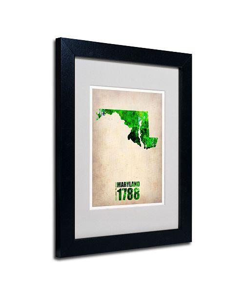 "Trademark Global Naxart 'Maryland Watercolor Map' Matted Framed Art - 14"" x 11"" x 0.5"""