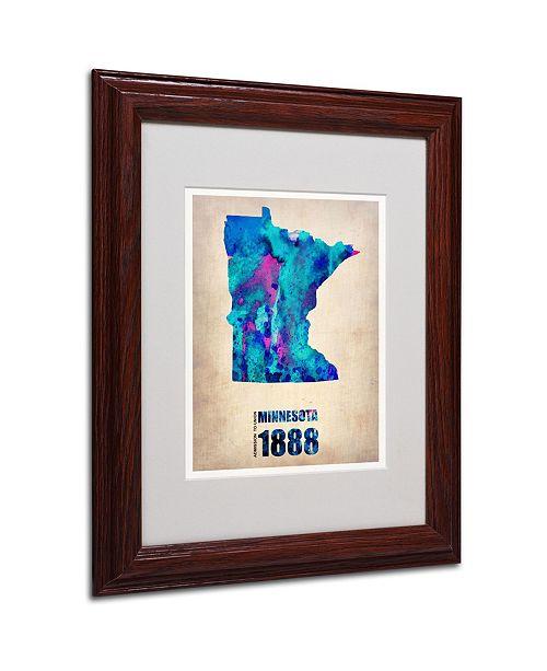 """Trademark Global Naxart 'Minnesota Watercolor Map' Matted Framed Art - 11"""" x 14"""" x 0.5"""""""