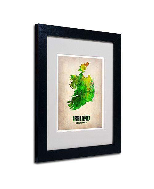 """Trademark Global Naxart 'Ireland Watercolor Map' Matted Framed Art - 14"""" x 11"""" x 0.5"""""""