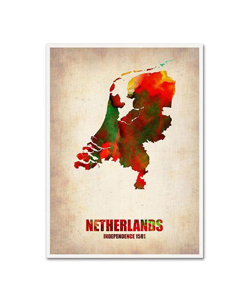"Trademark Global Naxart 'Netherlands Watercolor Map' Canvas Art - 19"" x 14"" x 2"""