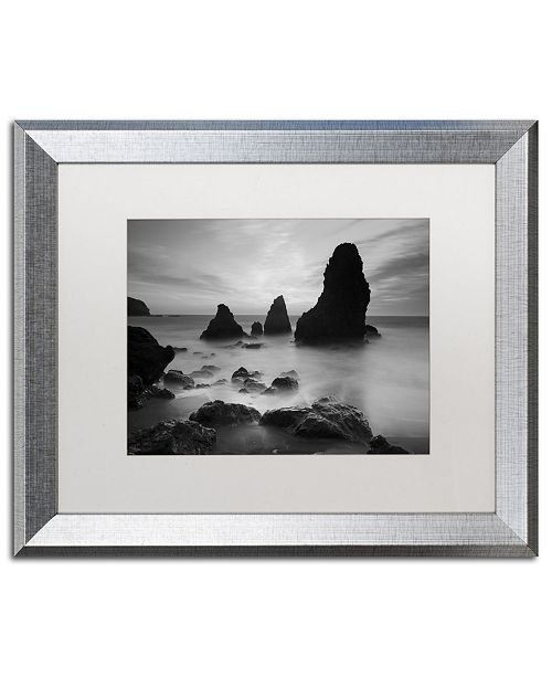 "Trademark Global Moises Levy 'Rodeo Beach I Black and White' Matted Framed Art - 20"" x 16"" x 0.5"""