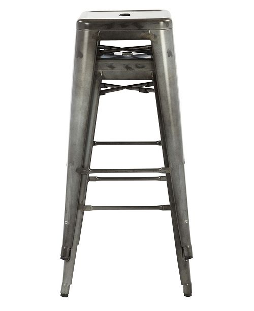"Office Star Bristow 30"" Antique Metal Barstool, 2-pack"