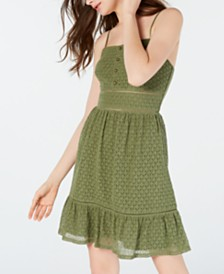 City Studios Juniors' Eyelet Flutter-Hem A-Line Dress
