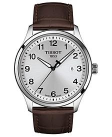Men's Swiss Gent XL Brown Leather Strap Watch 42mm