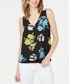 Bar III Floral-Print Split-Back Top, Created for Macy's