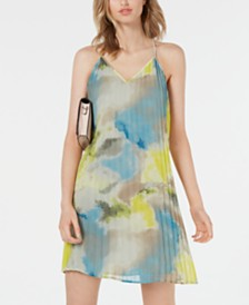 Bar III Watercolor Tie-Dye Pleated Dress, Created for Macy's