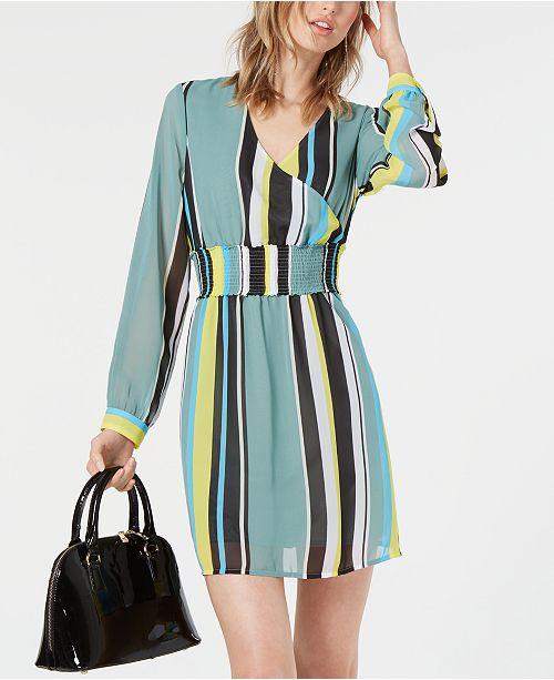 Bar III Striped Smocked-Waist Dress, Created for Macy's