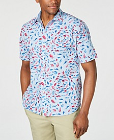 Men's Pesca Fiesta Stripe Fish-Print Camp Shirt