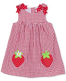 Rare Editions Baby Girls Gingham Strawberry Dress