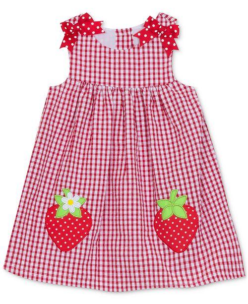 Rare Editions Baby Girls Gingham Strawberry Dress