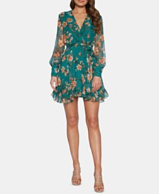 Bardot Ruffled Floral-Print Wrap Dress