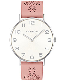 COACH Women's Perry Blush Floral Leather Strap Watch 36mm, Created for Macy's