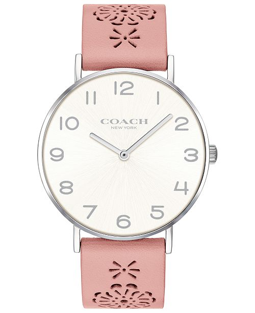 588b71ddcb ... COACH Women's Perry Blush Floral Leather Strap Watch 36mm, Created for  Macy's ...
