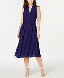 Anne Klein Split-Collar A-Line Dress