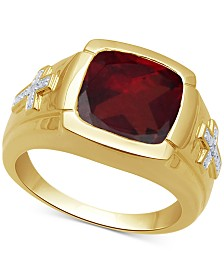 Men's Garnet (7-3/4 ct. t.w.) & Diamond Accent Ring in 18k Gold Over Sterling Silver