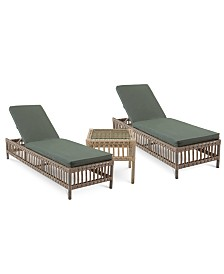Lavena Outdoor 3-Pc. Seating Set (2 Chaise Lounges & 1 End Table) with Sunbrella® Cushions, Created for Macy's