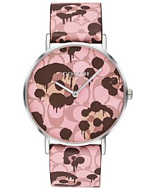 COACH Women's Perry Pink Printed Leather Strap Watch 36mm, Created For Macy's