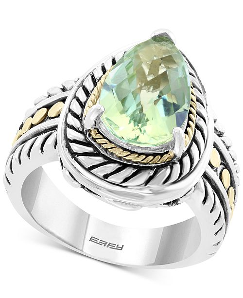 EFFY Collection EFFY® Green Quartz (3-1/6 ct. t.w.) Statement Ring in Sterling Silver & 18k Gold Over Sterling Silver