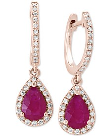 EFFY® Certified Ruby (1-3/8 ct. t.w.) & Diamond (1/4 ct. t.w.) Drop Earrings in 14k Rose Gold