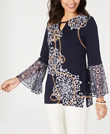 JM Collection Mixed-Print Bell-Sleeve Top, Created for Macy's