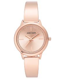 Anne Klein Women's Rose Gold-Tone Bangle Bracelet Watch 32mm