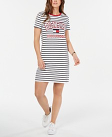 Tommy Hilfiger Striped Logo T-Shirt Dress, Created for Macy's