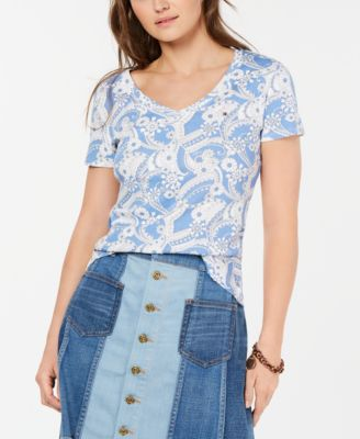 Cotton Paisley V-Neck T-Shirt, Created for Macy's