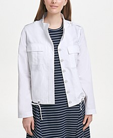Cotton Drawstring-Hem Jacket